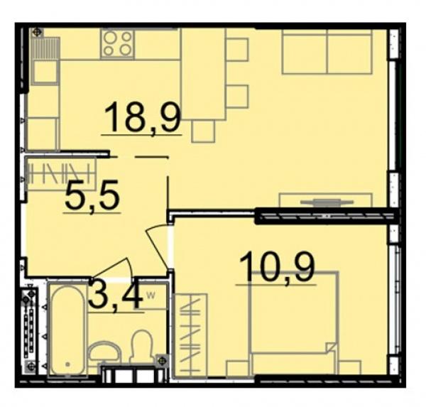 Планировки однокомнатных квартир 38.7 м^2